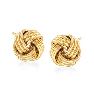 14kt Yellow Gold Love Knot Stud Earrings , , default