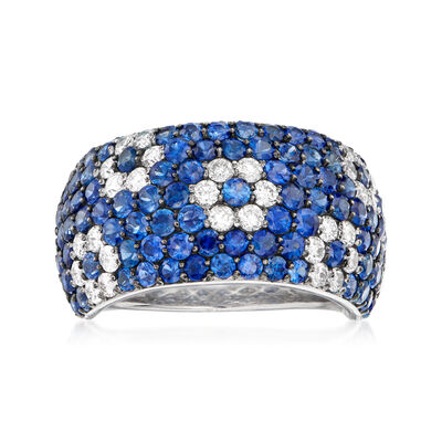 C. 1990 Vintage 3.28 ct. t.w. Sapphire and .75 ct. t.w. Diamond Flower Ring in 18kt White Gold