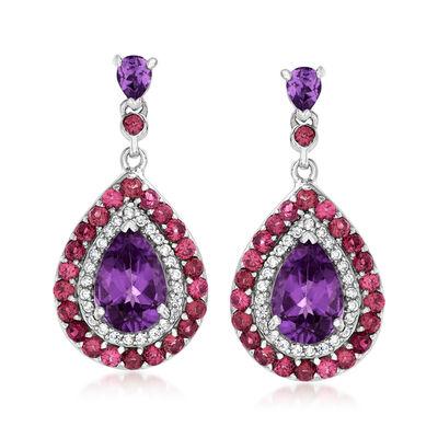 4.80 ct. t.w. Multi-Gemstone Halo Drop Earrings in Sterling Silver