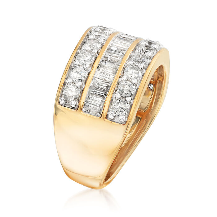 2.00 ct. t.w. Round and Baguette Diamond Ring in 18kt Gold Over Sterling