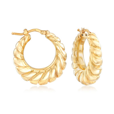 Italian Twisted Hoop Earrings in 18kt Yellow Gold, , default
