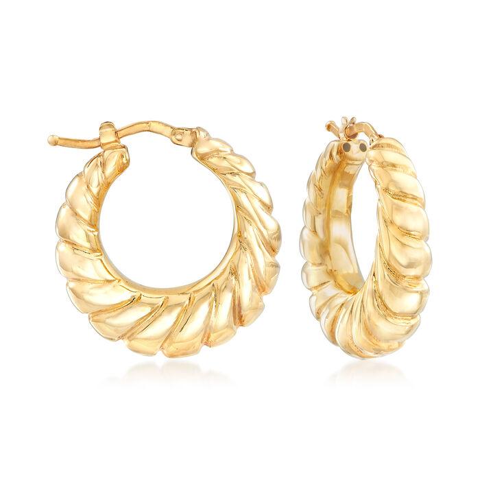 """Italian Twisted Hoop Earrings in 18kt Yellow Gold. 1"""", , default"""