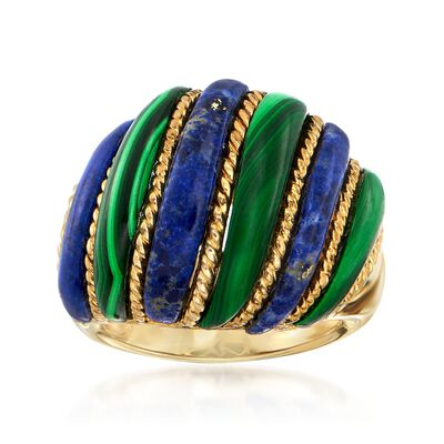 Lapis and Malachite Dome Ring in 18kt Yellow Gold Over Sterling Silver, , default