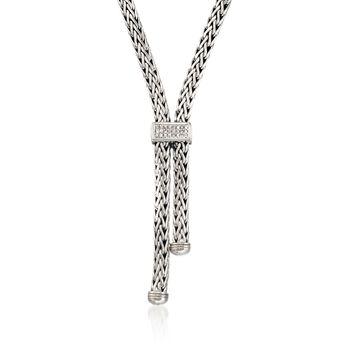 "Phillip Gavriel ""Woven"" .30 ct. t.w. White Sapphire Lariat Necklace in Sterling Silver. 17"", , default"