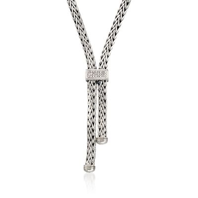 "Phillip Gavriel ""Woven"" .30 ct. t.w. White Sapphire Lariat Necklace in Sterling Silver, , default"