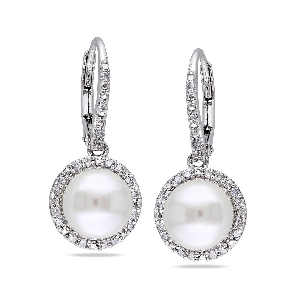 3e85762661d4a 8-8.5mm Cultured Pearl and .19 ct. t.w. Diamond Drop Earrings in Sterling  Silver