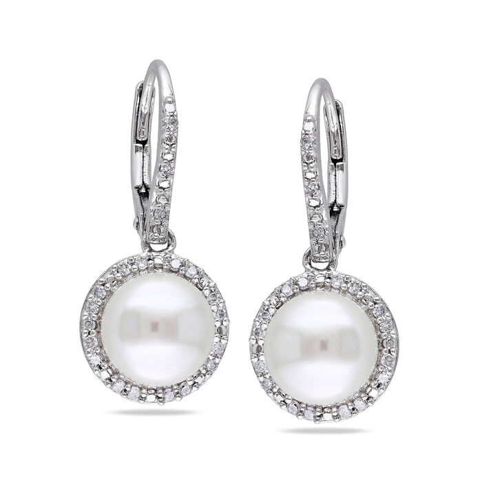 8-8.5mm Cultured Pearl and .19 ct. t.w. Diamond Drop Earrings in Sterling Silver, , default