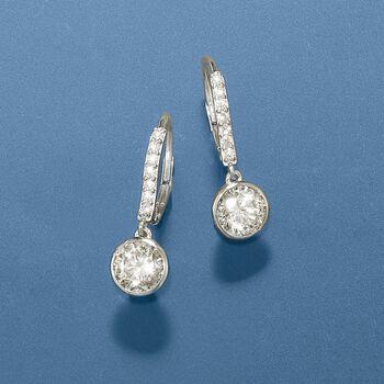 """2.40 ct. t.w. Bezel-Set CZ Drop Hoop Earrings in Sterling Silver. 7/8"""", , default"""