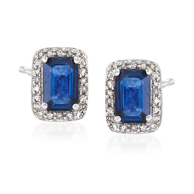 1.40 ct. t.w. Sapphire and .10 ct. t.w. Diamond Stud Earrings, , default
