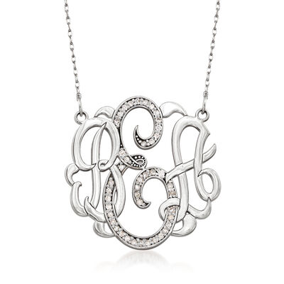 .20 ct. t.w. Diamond Monogram Necklace in 14kt White Gold, , default