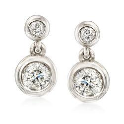 .75 ct. t.w. Diamond Bezel Drop Earrings in 14kt White Gold, , default