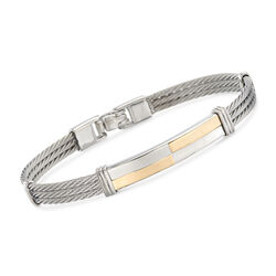 "ALOR Men's 18kt Yellow Gold and Stainless Steel Cable Checkered Bar Bracelet. 7.75"", , default"