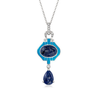 Lapis, Blue Enamel and .30 ct. t.w. White Topaz Pendant Necklace in Sterling Silver, , default