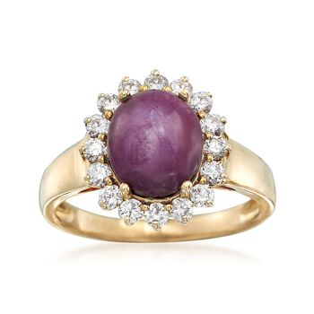 5.00 Carat Ruby and .56 ct. t.w. Diamond Ring in 14kt Yellow Gold, , default
