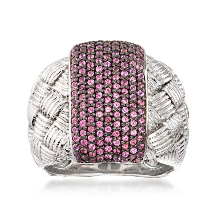 .90 ct. t.w. Rhodolite Garnet Braided Ring in Sterling Silver