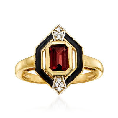 1.70 Carat Garnet Ring in 14kt Yellow Gold with White Sapphire Accents, , default