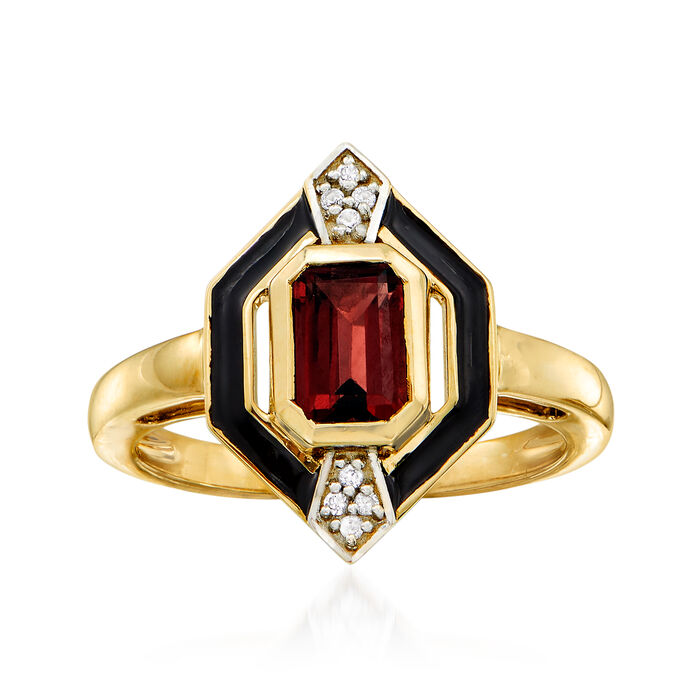 1.70 Carat Garnet Ring in 14kt Yellow Gold with White Sapphire Accents