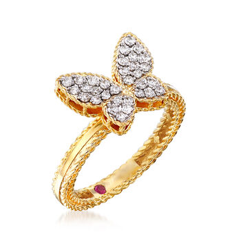 "Roberto Coin ""Princess"" .15 ct. t.w. Diamond Butterfly Ring in 18kt Two-Tone Gold. Size 6.5"