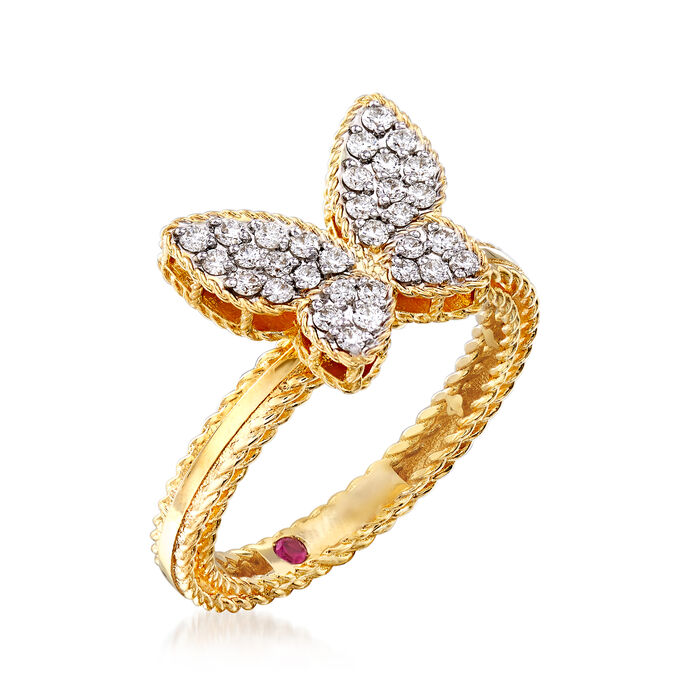 """Roberto Coin """"Princess"""" .15 ct. t.w. Diamond Butterfly Ring in 18kt Two-Tone Gold"""