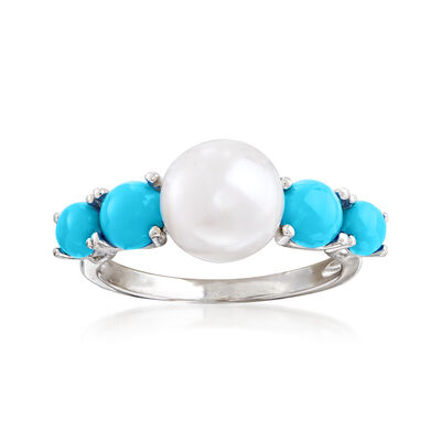 8.5-9mm Cultured Pearl and Turquoise Ring in Sterling Silver, , default