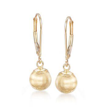 10mm 14kt Yellow Gold Shiny Bead Drop Earrings , , default
