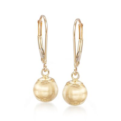 10mm 14kt Yellow Gold Shiny Bead Drop Earrings, , default