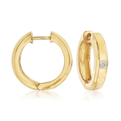 18kt Gold Over Sterling Hoop Earrings with Diamond Accents