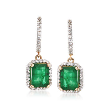4.60 ct. t.w. Emerald and .65 ct. t.w. Diamond Drop Earrings in 14kt Yellow Gold , , default
