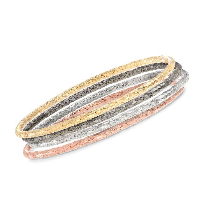 Italian Multi-Toned Sterling Silver Jewelry Set: Four Textured Bangle Bracelets