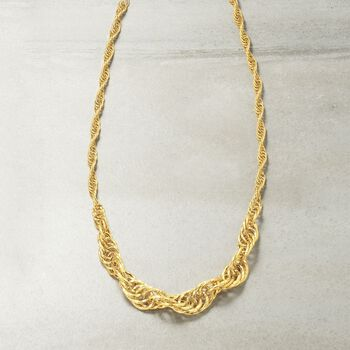 14kt Yellow Gold Graduated Rope-Link Necklace, , default