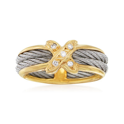 C. 2000 Vintage Diamond-Accented X Ring in Stainless Steel and 14kt Yellow Gold, , default