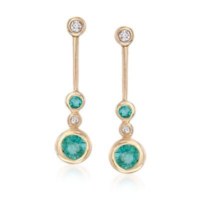 .37 ct. t.w. Bezel-Set Emerald Linear Drop Earrings with Diamond Accents in 14kt Gold, , default