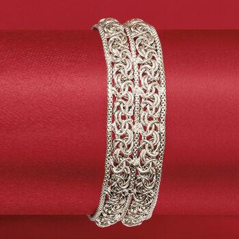 Italian Sterling Silver Double Byzantine Bracelet, , default