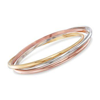 """Italian 18kt Tri-Colored Gold Rolling Bangle Bracelet. 8.5"""", , default"""