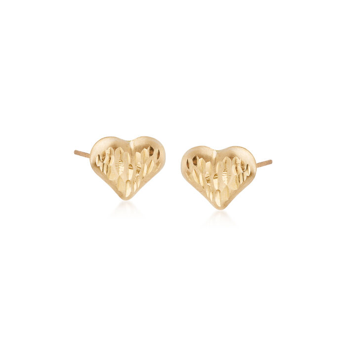 Child's 14kt Yellow Gold Diamond-Cut Heart Stud Earrings, , default