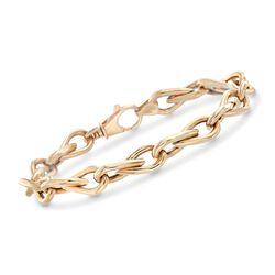 14kt Yellow Gold Teardrop-Link Bracelet, , default
