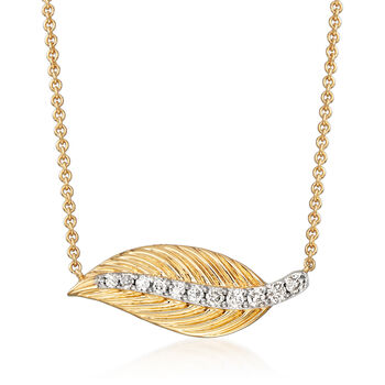 .16 ct. t.w. Diamond Leaf Necklace in 14kt Yellow Gold, , default
