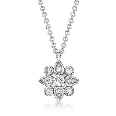 Gabriel Designs .22 ct. t.w. Diamond Flower Pendant Necklace in 14kt White Gold, , default