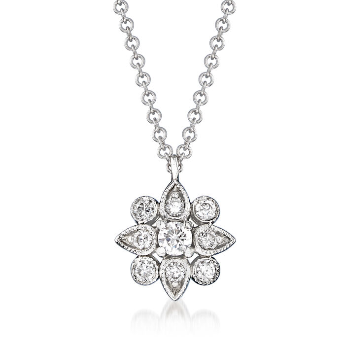 Gabriel Designs .22 ct. t.w. Diamond Flower Pendant Necklace in 14kt White Gold