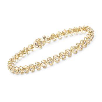 "1.00 ct. t.w. Diamond Oval-Link Tennis Bracelet in 14kt Yellow Gold. 7"", , default"