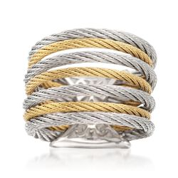 "ALOR ""Classique"" Two-Tone Stainless Steel Multi-Cable Ring With 18kt Yellow Gold. Size 7, , default"
