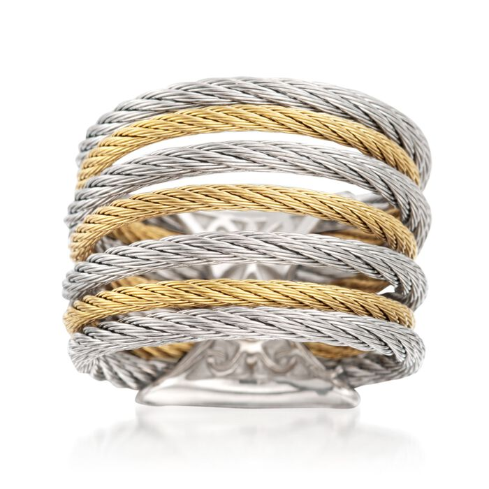 """ALOR """"Classique"""" Two-Tone Stainless Steel Multi-Cable Ring with 18kt Yellow Gold. Size 7, , default"""