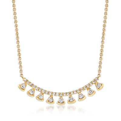 .27 ct. t.w. Diamond Curved Bar Drop Necklace in 14kt Yellow Gold