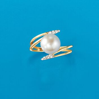 9mm Cultured Pearl Bypass Ring with Diamond Accents in 14kt Yellow Gold