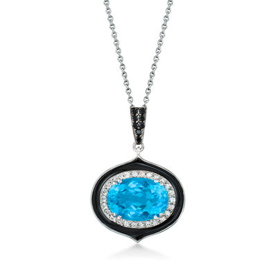 6.75 Carat Swiss Blue Topaz, .50 ct. t.w. White Zircon and .10 ct. t.w. Black Spinel Pendant Necklace in Sterling Silver with Black Enamel