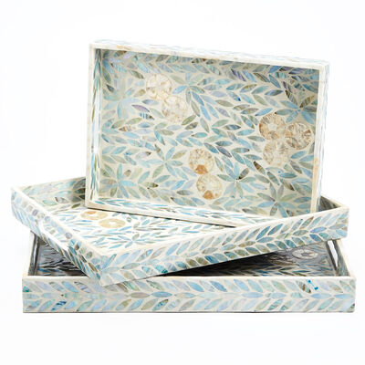 """Palawan Flower"" Set of 3 Mother-Of-Pearl Lacquered Trays, , default"