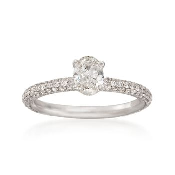 1.20 ct. t.w. Oval and Pave Diamond Engagement Ring in 18kt White Gold, , default