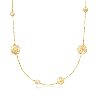 Italian 18kt Gold Over Sterling Multi-Bead Station Necklace