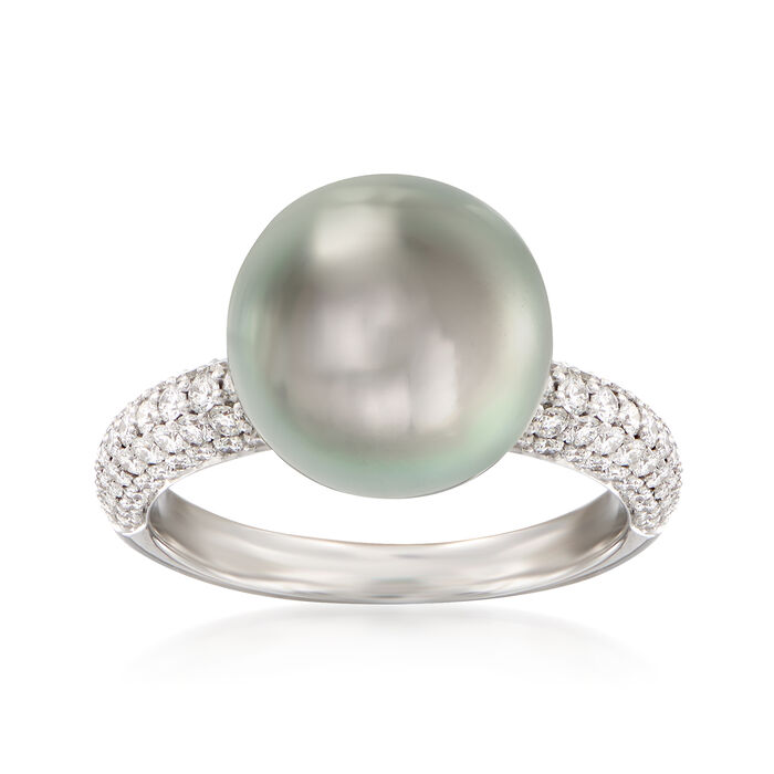 "Mikimoto ""Classic"" 11mm A+ South Sea Pearl and .66 ct. t.w. Diamond Ring in 18kt White Gold"