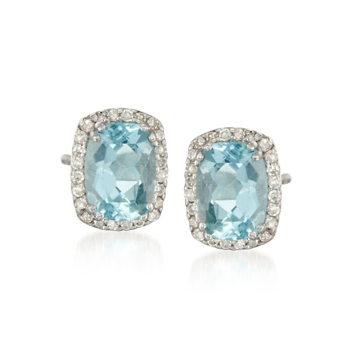 1.40 ct. t.w. Aquamarine and .14 ct. t.w. Diamond Stud Earrings in 14kt White Gold, , default
